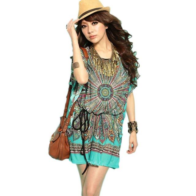 Vestido-de-Bohemian-Mini-verão-estilo-Folk-Tropical-ocasional-da-seda-praia-Floral-Loose-Women-Ice